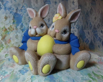Boy & Girl Bunny with Yellow Egg