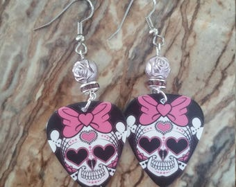 Guitar Pick Earrings ~ Skulls with Bows ~ Sugar Skulls ~ Skull and Bones ~ Gifts for Her ~ Gifts ~ Dia de los Muertos ~ Day of the Dead