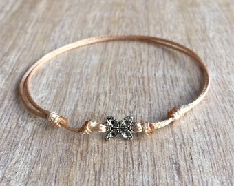 Butterfly Anklet, Gold Waxed Cord Anklet, Adjustable Anklet  WA001002