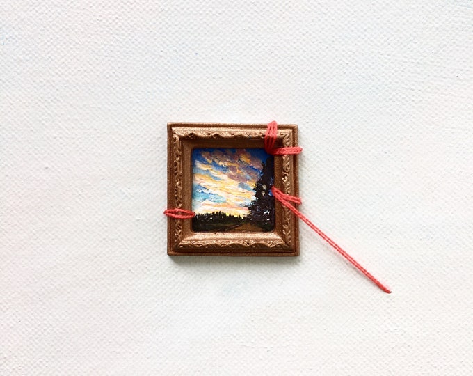 Remembering Character / original tiny painting / acrylic painting on canvas / sunset art