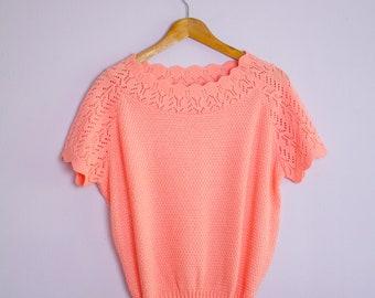 Vintage 1980's Peach Crochet Short Sleeve Summer Sweater M