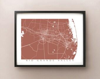 Rio Grande Valley Area Map Print - Texas Poster