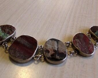 Sterling Silver Unpolished Stone Link Bracelet