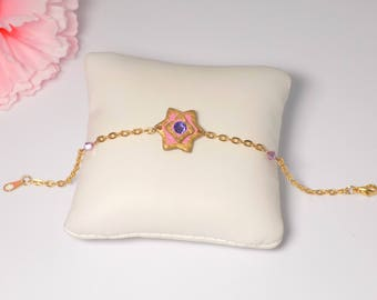 Gold Star bracelet leather Pink Rhinestone swarovski Tanzanite and violet pink Crystal bicone. Gift for her