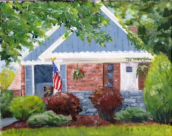 Custom Oil Painting House portrait Gift Certificate by artist Robin Zebley of CustomPortraitArt