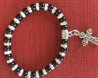 Black 6mm onyx bead bracelet with cross charm