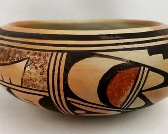 Native American Vintage Hopi Poly Chrome Pottery Bowl, by Bernite Beeson, Ca 1950's, #1305