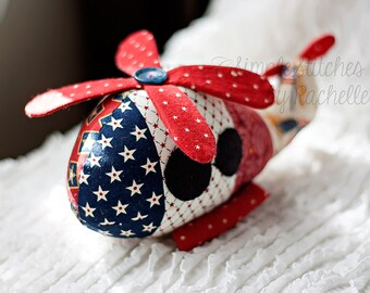 "Custom Helicopter - 8.5"" Stuffed Helicopter - Fabric Helicopter- Vehicles - Toys - Melly And Me Helicopter"