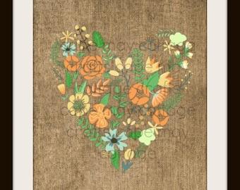 Burlap Heart Flowers Print