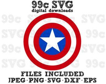 Captain America Shield SVG DXF Png Vector Cut File Cricut Design Silhouette Vinyl Decal Marvel Party Stencil Template Heat Transfer Iron
