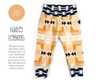 010 Hadley Leggings PDF Sewing Pattern Baby or Kid Toddler Knit Pants Boy or Girl Rib Cuff Preemie to 6T Sadi & Sam