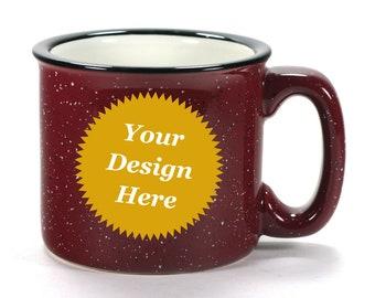 Custom Burgundy Camp Mug - dark red ceramic speckled coffee cup