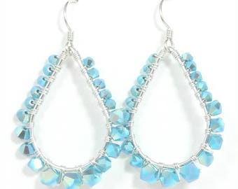 Swarovski Crystal Turquoise Wire Wrapped  Earrings