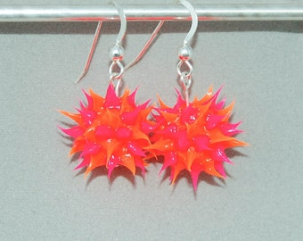 Spiky rubber earrings, spiky ball earrings, orange and pink spiky earrings, silicone ball earrings, sterling silver and spiky ball dangles