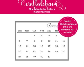 2019 Mini Calendar Digital Download | Printable Mini Calendar | Printable PDF | Journaling Calendar | Small Calendar | Chantiago