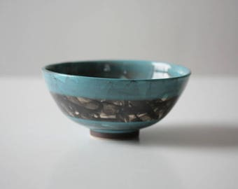 Blue Ceramic Bowl with Black Detail