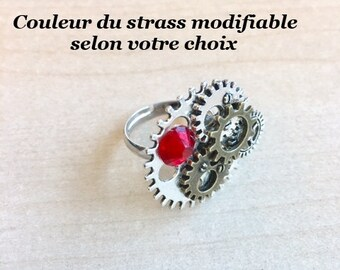 Adjustable steampunk COGS, gears and Red Swarovski Crystal ring