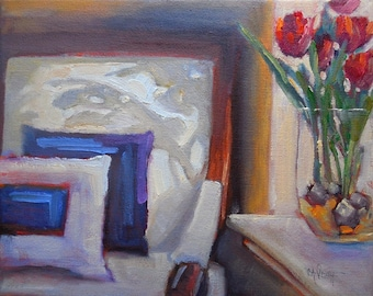 Impressionist Small Oil Painting, Daily Painting, Interior Painting, White Chair with Shadows, 8x10 still life, Free Shipping in US