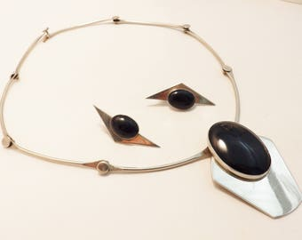 Sterling Silver Large Black Onyx Modernist Choker Necklace and Earring Jewelry Set
