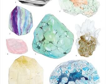 Crystal Specimen Chart #1 print - 11x14