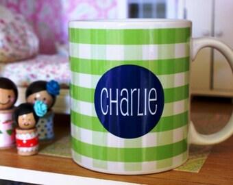 Personalized coffee cup, personalized coffee mug, gingham coffee mug, coffee mug, monogrammed mug, monogrammed cup, coffee cup, coffee cups