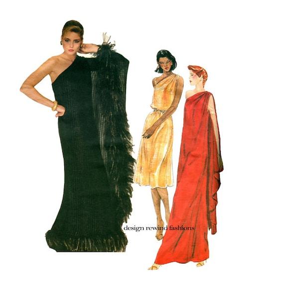 1980s Vogue 2832 ONE SHOULDER GRECIAN Gown Pattern Maxi Dress ...