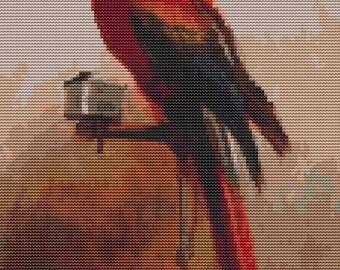 Bird Cross Stitch Chart, Study of a Parrot Cross Stitch Pattern PDF, Art Cross Stitch, George Cole, Embroidery Chart