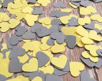 Confettis coeur, tableau décoration, confettis coeur gris jaune, sexe décorations shower de bébé, coeurs confettis coeur invitation