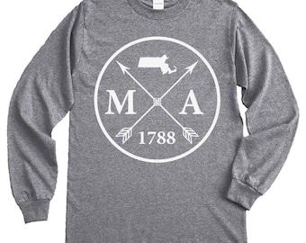 Homeland Tees Massachusetts Arrow Long Sleeve Shirt