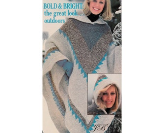 70s Poncho Knitting Pattern Hooded or not,  Diamond Pattern Vintage PDF P101