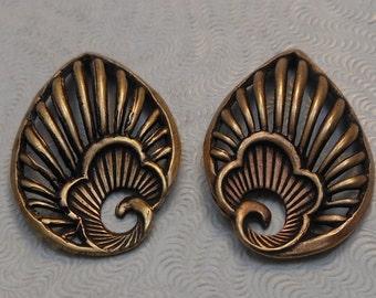 LuxeOrnaments European Filigree Oxidized Brass Pendants (Qty 1 left-right matched pair) 26x17mm A-30740-B