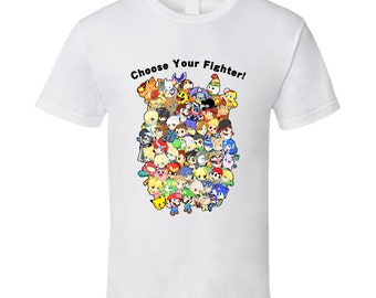 Super Smash Bros. Wii U / 3DS - All 58 Characters! Group - Cute White T-Shirt