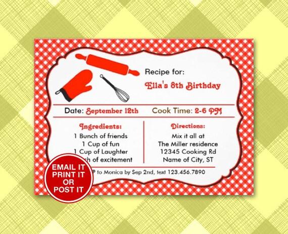 Recipe card cooking birthday party invitation digital stopboris Choice Image