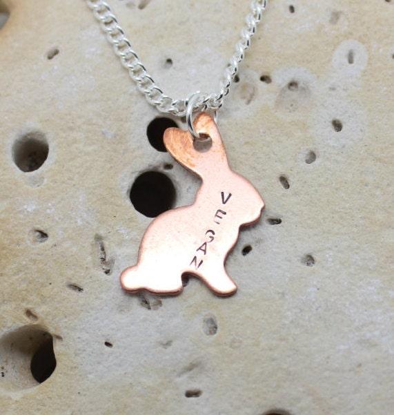 Vegan bunny rabbit necklace. Copper rabbit with handstamped