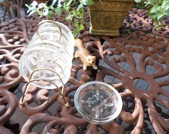 Vintage Cut Glass Beverage Coasters in a Metal Holder/Rack/Caddy
