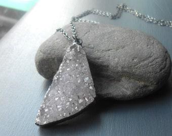 Large Druzy Pendant Necklace, Long Oxidized Silver Necklace