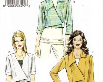 Sz 14/16/18/20/22 - Vogue Jacket Pattern V8673 - Misses' Cropped Asymmertical Jacket in Three Variations - Very Easy Vogue Patterns