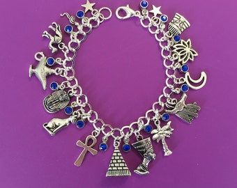 Egypt Charm Bracelet, Egyptian, Ancient, Stargate, Pyramid, Death Mask