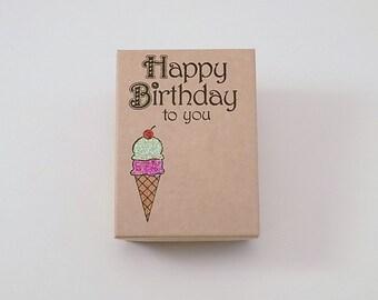 Happy Birthday Stamped Box Ice Cream Cone Treat Jewelry or Gift Box Kraft Jewelry Box