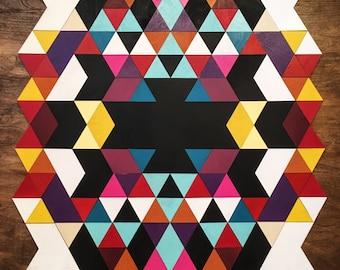 Street Art Style Geometric Loft Art | Wood Tile Mosaic Home Wall Decoration