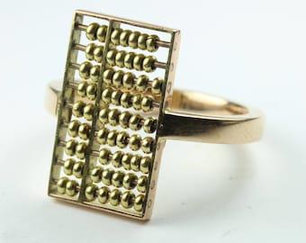 A Beautiful 14ct Yellow gold Abicus Ring Size: 11 1/2 - X