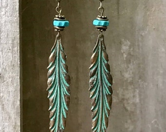 Bronze Earrings, Feather Earrings, Turquoise Earrings, Patina Earrings, Leaf Earrings, Ceramic Earrings, Rustic Earrings, Ethnic Earrings
