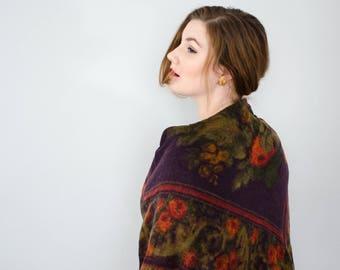vintage wool shawl / large dark purple and orange floral scarf