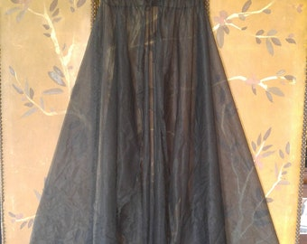 70's black sheer maxi night gown