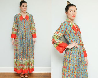 70s Maxi Floral Dress // 1970s 60s Boho Flat Collar Dress Red Prairie Revival Bell Sleeve Festival Hippie Psychedelic Bohemian Medium