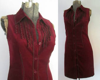 Burgundy Corduroy Dress Vintage Jonathan Martin Ruffled Sleeveless Button Front Jumper