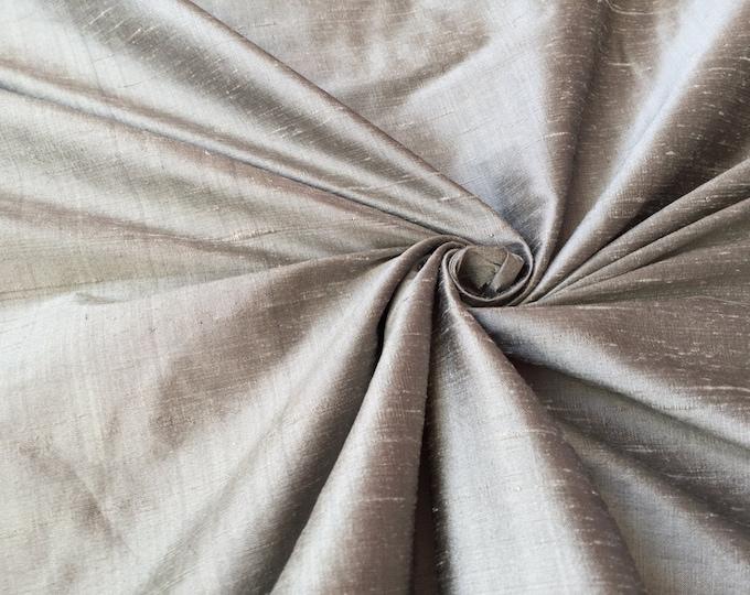 """Silver 100% dupioni silk fabric yardage By the Yard 55"""" wide"""