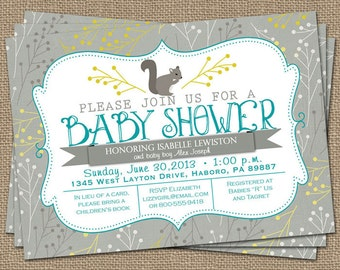 squirrel baby shower invitation, typography baby shower invitation with squirrel, digital, printable file