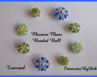 Tutorial Chevron Chain Beaded Ball  - Jewelry Beading Pattern, Beadweaving Instructions, Download, PDF, Do It Yourself