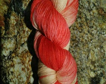 Hand dyed 100% Super soft Merino wool yarn - sport weight - red blush 50g mini-skein